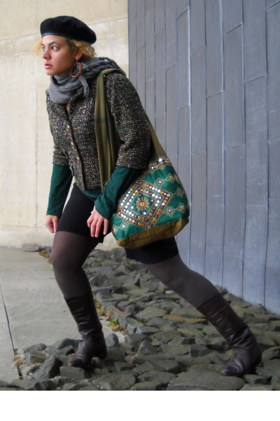 army green blazer - olive green bag