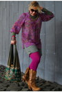 Magenta-tights-tawny-western-boots-olive-green-lightweight-sweater
