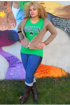 green boston t-shirt - leg warmers socks - tan hoodie