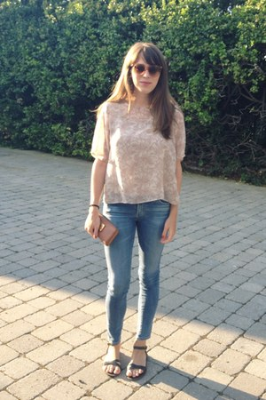 AG jeans - Zara shirt - Marc Jacobs purse - quay sunglasses - madewell sandals