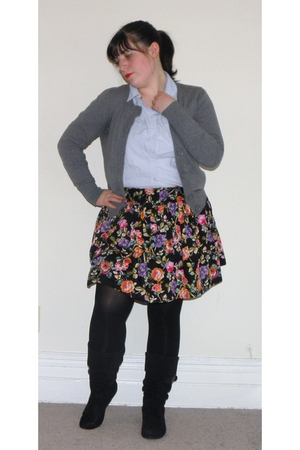 blue Old Navy blouse - gray H&M cardigan - black Forever 21 skirt - black We Lov