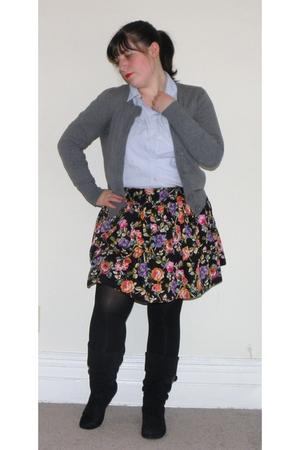 blue Old Navy blouse - gray H&M cardigan - black Forever 21 skirt - black We Lov