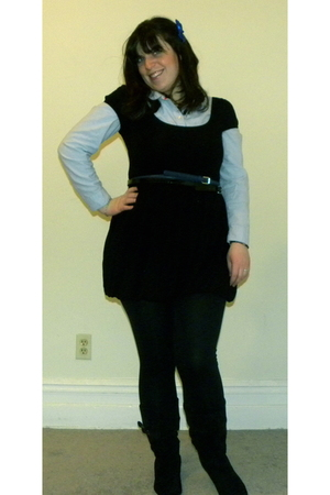 black Forever 21 dress - blue Old Navy blouse - blue Forever 21 belt - black For