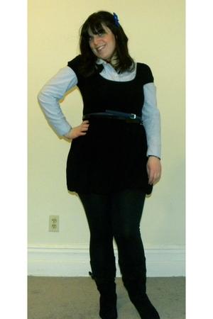 black Forever 21 dress - blue Old Navy blouse - blue Forever 21 belt - black For