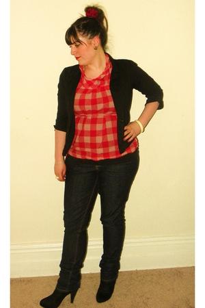 red Forever 21 blouse - black Wet Seal blazer - I heart ronson jeans - black pay