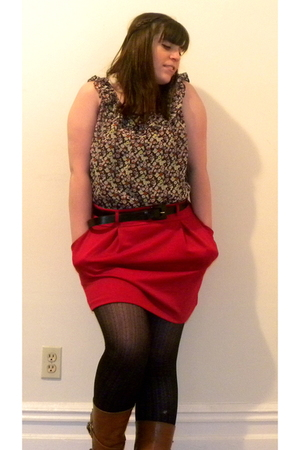 red Forever 21 skirt - Forever 21 blouse - black Old Nay tights - brown Ebay boo