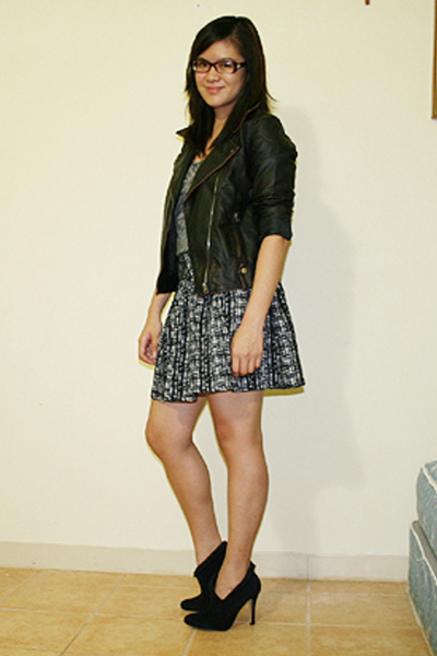 UO jacket - Theory t-shirt - f21 skirt - f21 shoes