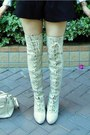 Ivory-knee-high-boots-snidel-boots-white-frilly-secondhand-shirt-white-vivie