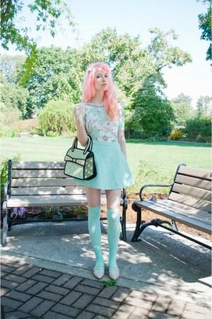 aquamarine Jump From Paper bag - aquamarine corduroy American Apparel skirt