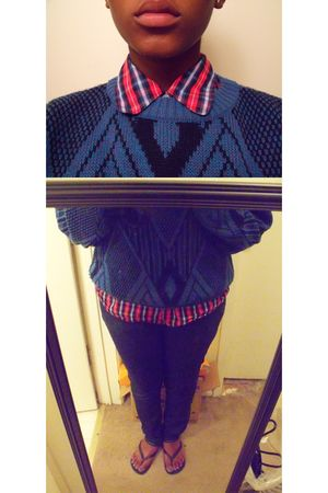 blue sweater - red Gap shirt - blue Bullhead Denim jeans - black Gap shoes