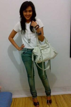 Zara shirt - H&M necklace - alun-alun indonesia bracelet - balenciaga - Nudie Je