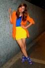 Blue-random-brand-dress-carrot-orange-fasyonablemultplycom-blazer-yellow-ran