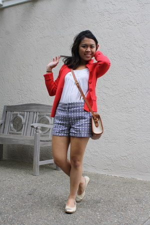 white Forever 21 top - red thrifted blazer
