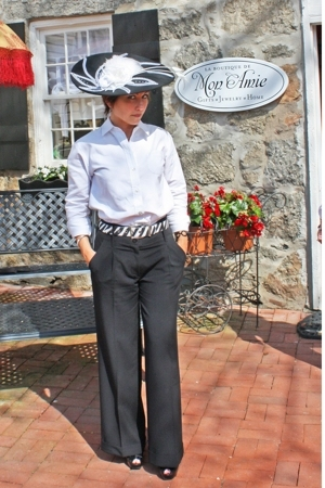 black hat - black pants - white blouse - black shoes