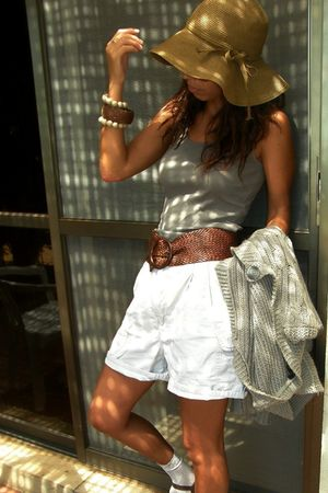 white bfs shorts - beige Mango cardigan - brown straw belt