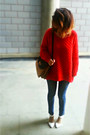 Skini-zara-jeans-red-knit-h-m-sweater