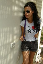 Forever 21 shorts - NYC t-shirt - Ray Ban sunglasses - purple braces accessories