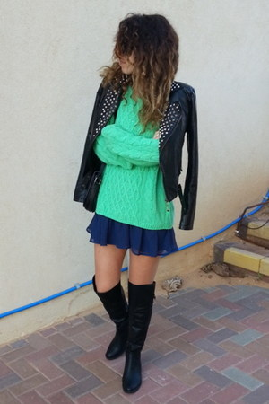 navy sheer H&M skirt - chartreuse knit H&M sweater