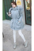 light blue MIAMASVIN coat - white MIAMASVIN leggings - MIAMASVIN glasses