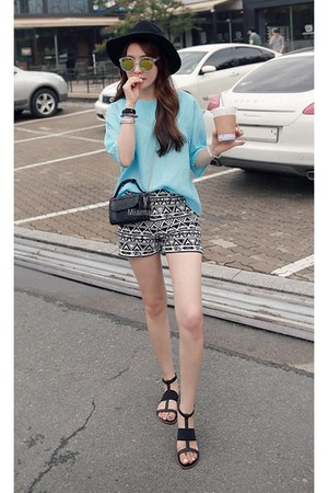 charcoal gray MIAMASVIN bag - MIAMASVIN shorts - light blue MIAMASVIN blouse