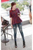ruby red MIAMASVIN blouse - black MIAMASVIN boots - navy MIAMASVIN jeans