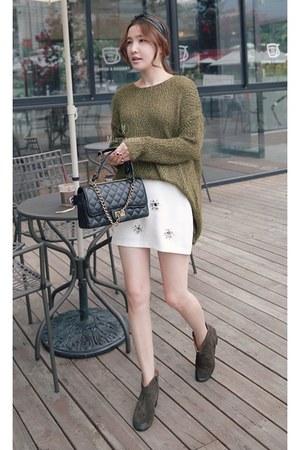 black MIAMASVIN boots - olive green MIAMASVIN sweater - dark brown MIAMASVIN bag