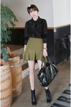 olive green MIAMASVIN skirt - black MIAMASVIN boots - black MIAMASVIN bag