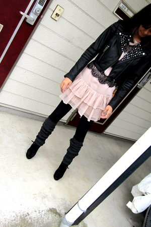 black H&M jacket - pink Topshop dress - black supre leggings - black Nine West s