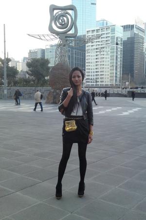 White Suede jacket - Gripp Jeans top - bardot skirt - Mogil belt - TopShop Uniqu