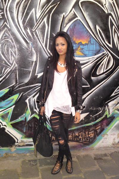 black leather jacket gripp jacket - black bijou shoes - black Lee jeans
