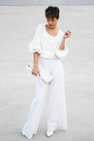white wide leg pants pants