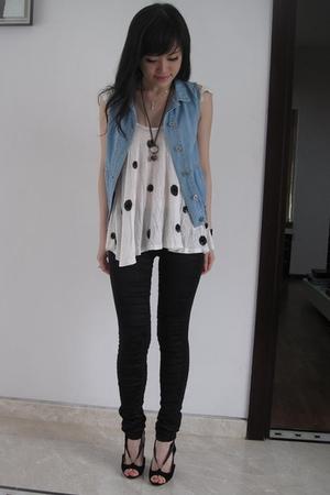 Zara vest - Topshop top - Sass and Bide leggings - Nicholas Kirkwood shoes