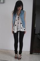 Zara vest - Topshop top - Sass and Bide leggings - Nicholas Kirkwood shoes