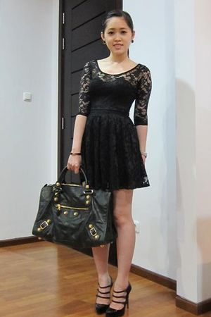 black Miss Selfridges dress - black Louboutin shoes - black balenciaga bag