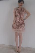 pink tailored dress - beige Christian Louboutin shoes - pink Miu Miu accessories