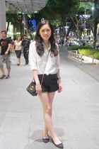 white Club Monaco shirt - black Topshop shorts