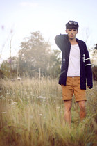 bronze Topman shorts - white Primark t-shirt - navy H&amp;M cardigan