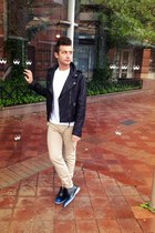 black oxford Cole Haan shoes - black biker coach jacket - white 2xist t-shirt