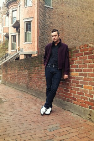 silver Cole Haan shoes - Levis jeans - deep purple Prada jacket