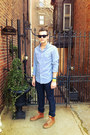 Skinny-levis-jeans-blue-gingham-jcrew-shirt-blue-celine-sunglasses