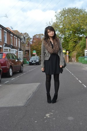 H&M dress - asos boots - warehouse jacket - faux fur stole H&M scarf