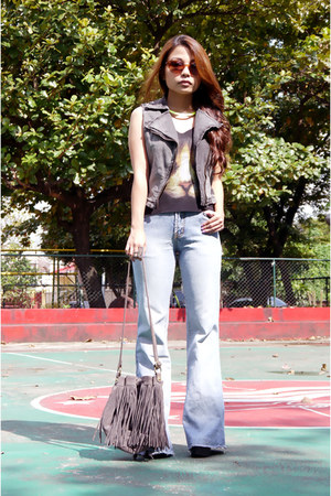 charcoal gray denim Topshop vest - periwinkle wide leg American Eagle pants