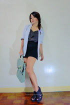 black sheer polka dot top - light blue oversized blazer