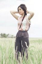 gray translucent NIKICIO skirt - light pink major minor top