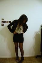Forever 21 jacket - blouse - skirt - tights