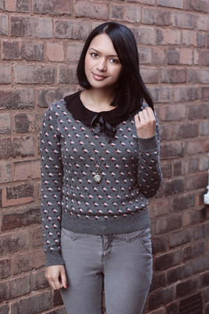 heather gray Primark jumper - silver Urban Outfitters jeans