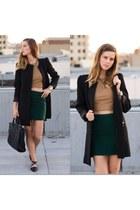 black black Zara coat - dark green felt madewell skirt