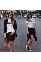 white cotton Delacy Clothing shirt - black pony Steve Madden flats