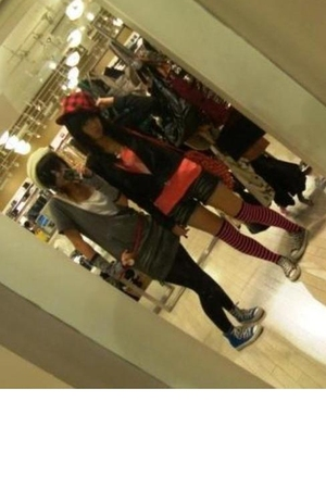 red Forever 21 hat - black De Cozy jacket - pink taiwan top - blue taiwan pants