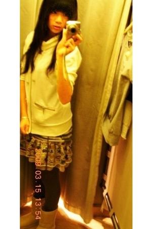 white Forever 21 jacket - beige skirt - gray Forever 21 leggings - beige wild di
